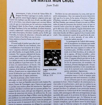 L'OFICI de Dovlàtov llegir per Joan Todó a L'Avenç de setembre